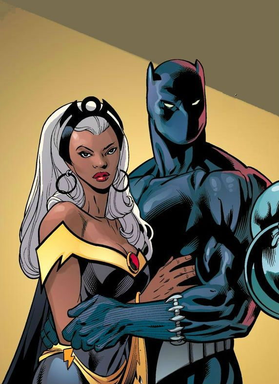 casais de super-heróis pantera & tempestade